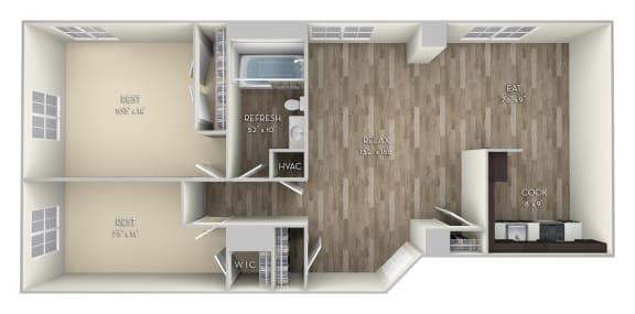 Adams 2 Bedroom 1 Bathroom Floor Plan at Columbia Uptown, Washington, Washington