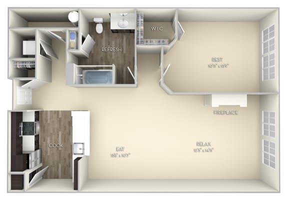 Bristol Kensington Place 1 bedroom 1 bath unfurnished floor plan apartment in Woodbridge VA at Kensington Place, Woodbridge