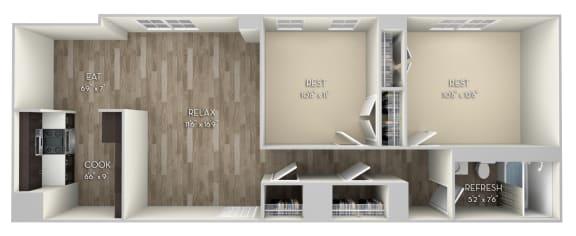 Douglas 2 Bedroom 1 Bathroom Floor Plan at Columbia Uptown, Washington, DC, 20009