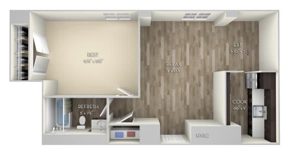 Girard 1 Bedroom 1 Bathroom Floor Plan at Columbia Uptown, Washington, DC, 20009