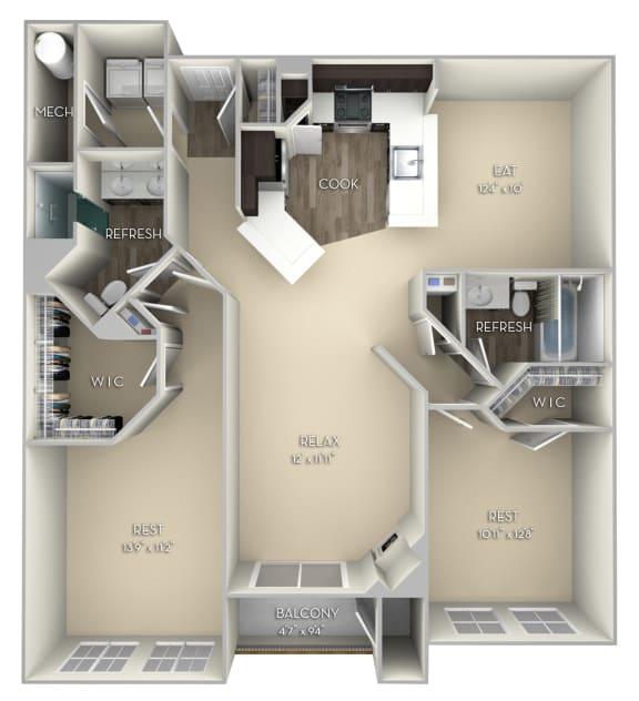 Terrapin Kensington Place 2 bedrooms 2 baths unfurnished floor plan apartment in Woodbridge VA at Kensington Place, Virginia, 22191