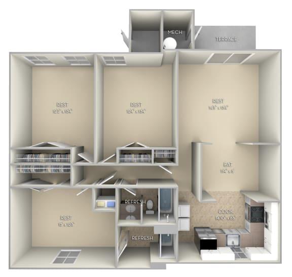 Ashton Fairfax Square 3 bedroom 2 bath unfurnished floor plan apartment in Fairfax VA at Fairfax Square, Fairfax, Virginia