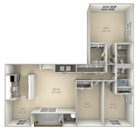 Braddock Fairfax Square 3 bedroom 2 bath unfurnished floor plan apartment in Fairfax VA at Fairfax Square, Virginia