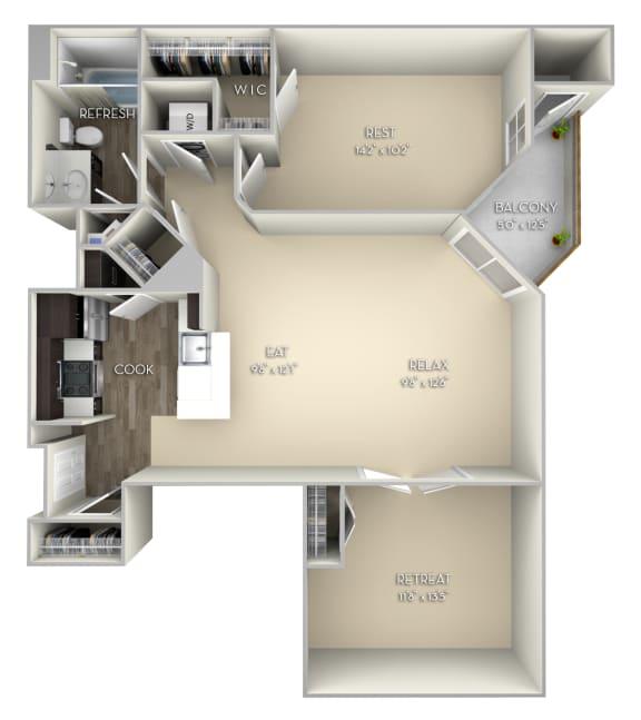 Westminster Kensington Place 1 bedroom 1 bath unfurnished floor plan apartment in Woodbridge VA at Kensington Place, Woodbridge, VA