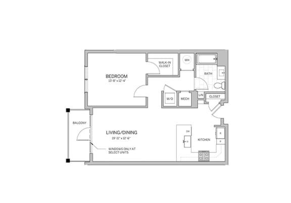 Floor Plan  1 Bedroom - a14 Floor Plan at AVE Blue Bell, Blue Bell, PA, 19422