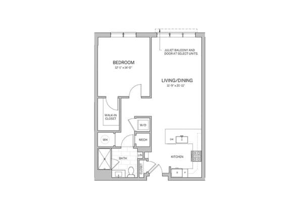 Floor Plan  1 Bedroom - a15 Floor Plan at AVE Blue Bell, Blue Bell, PA