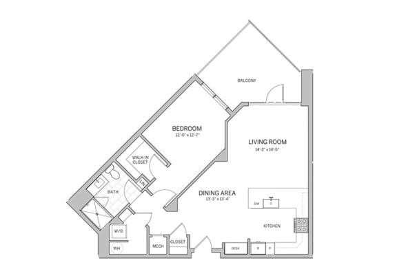 Floor Plan  1 Bedroom - a19 Floor Plan at AVE Blue Bell, Blue Bell, PA, 19422