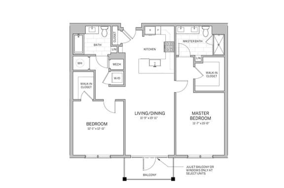 Floor Plan  2 bed - b1 Floor Plan at AVE Blue Bell, Pennsylvania, 19422
