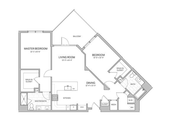 Floor Plan  2 Bedroom - b12 Floor Plan at AVE Blue Bell, Blue Bell, 19422