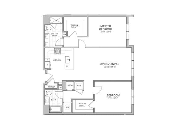 Floor Plan  2 Bedroom - b14 Floor Plan at AVE Blue Bell, Pennsylvania, 19422