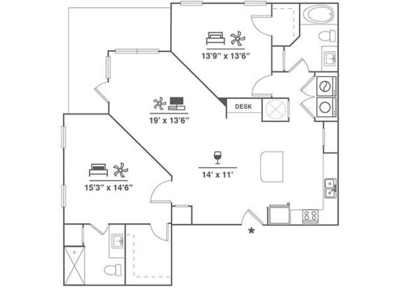 Floor Plan  2x2 B4