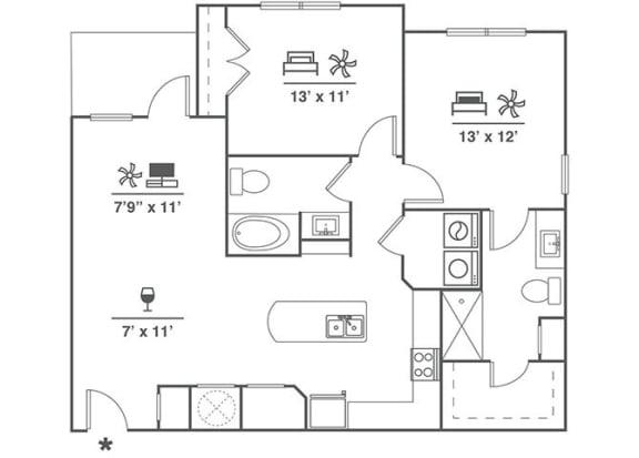 Floor Plan  2x2 B8
