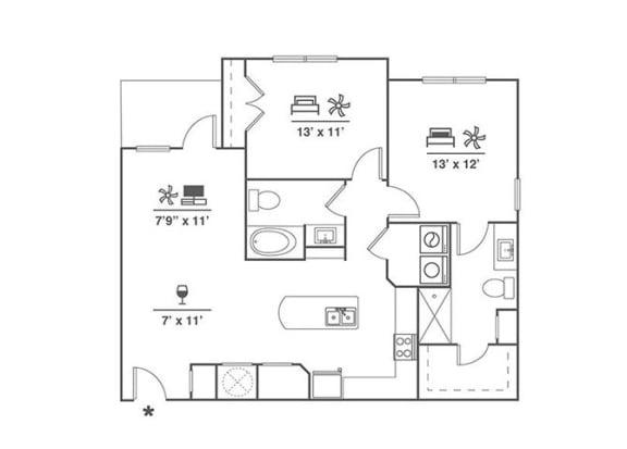 Floor Plan  2x2 B1
