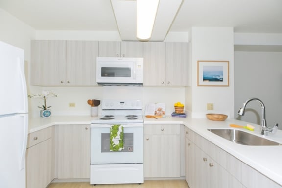 Kanekapolei Collection Kitchen area with appliances, cabinet, and counters