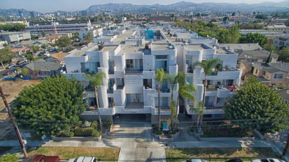 5015 Clinton Apartments aerial view of building