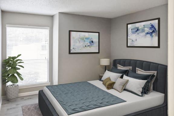 Hidden Oaks Apartment Homes bedroom with decor
