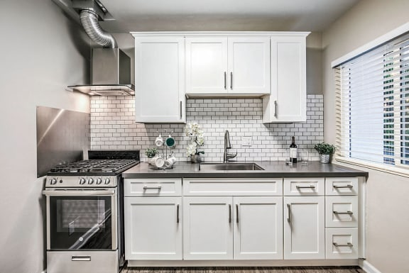 The Island Apartments kitchen with appliances