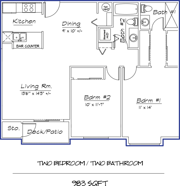 Floor Plan  2 Bed 2 Bath  22A
