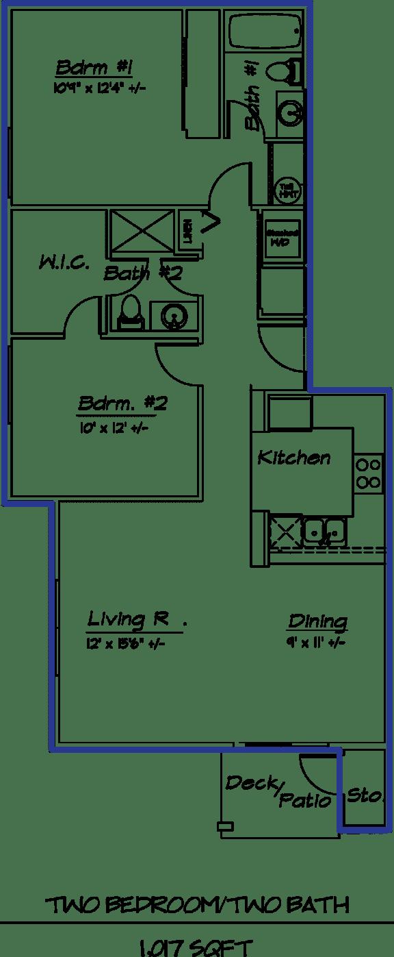 Floor Plan  2 Bed 2 Bath  22B