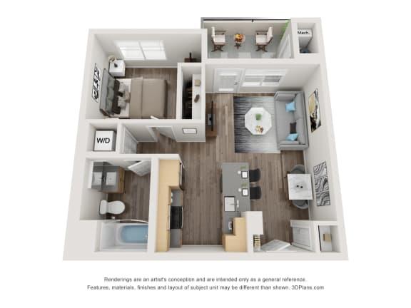 Floor Plan  1 Bed 1 Bath Floor Plan at 1724 Highland, Los Angeles, 90028