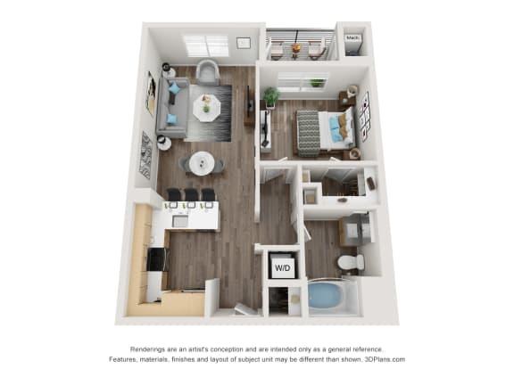 1X1 Floor Plan at 1724 Highland, Los Angeles, CA