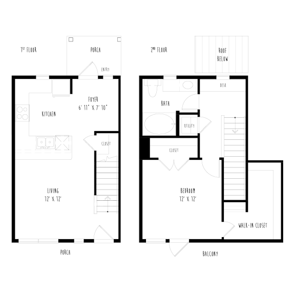 Floor Plan  THA5.2: 1 Bedroom, 1 Bathroom Townhome