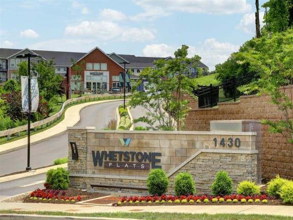 Welcoming Property Sign at Whetstone Flats, Nashville, TN, 37211