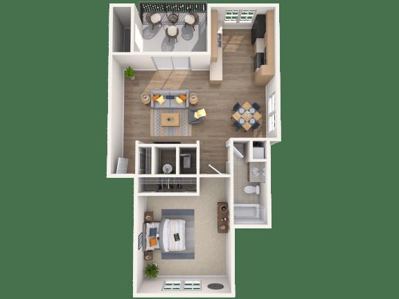 Floor Plan  1 Bed, 1 Bath, 657 sq. ft.