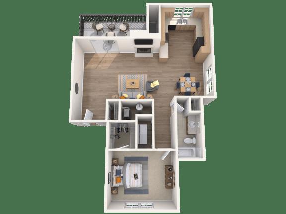 Floor Plan  1 Bed, 1 Bath, 794 sq. ft.