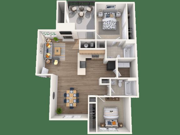Floor Plan  2 Bed, 2 Bath, 1014 sq. ft.