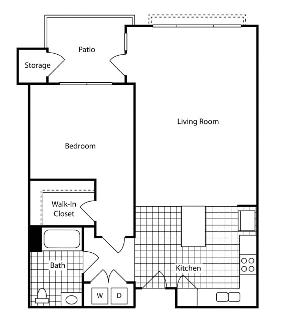 Floor Plan  1 Bed - 1 Bath 736 sq ft Floor Plan at Bella Terra Apartments, Mukilteo, 98275