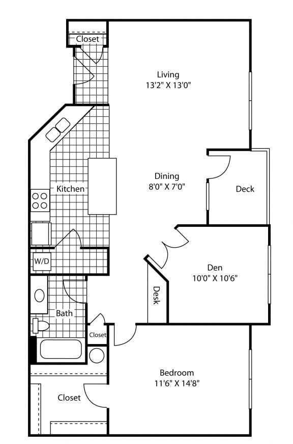 Floor Plan  1 Bed - 1 Bath 904 sq ft Floor Plan at Bella Terra Apartments, Mukilteo, Washington
