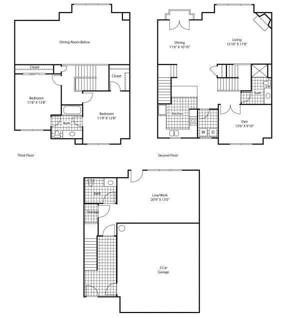 Floor Plan  3 Bed, 2 Bath Floor Plan at Bella Terra Apartments, Washington