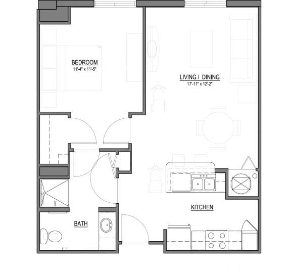 Floor Plan  A1-A 1 Bed - 1 Bath |693 sq ft floorplan