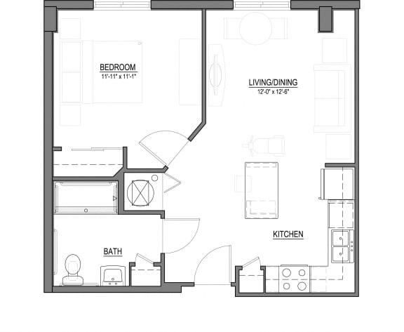 Floor Plan  A2 1 Bed - 1 Bath |607 sq ft floorplan