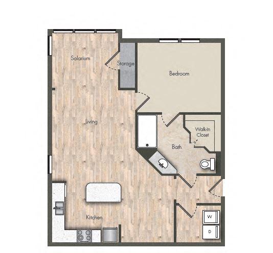 Floor Plan  1 Bed - 1 Bath |820 sq ft floorplan