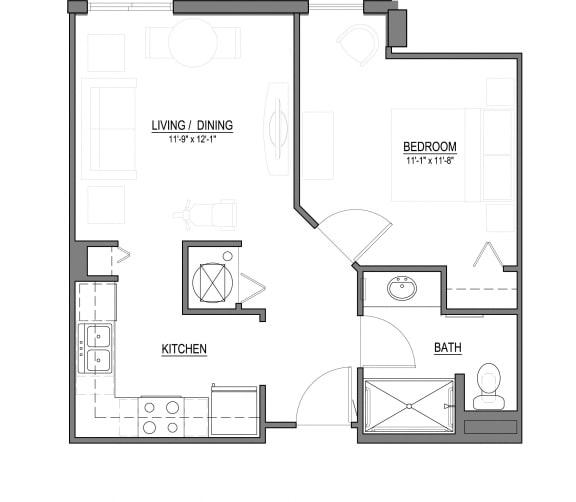 Floor Plan  A3 1 Bed - 1 Bath |569 sq ft floorplan