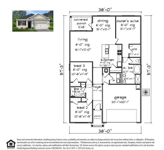 PLAN 1641 Floor Plan at Emerald Lakes South, Ocean Springs, Mississippi