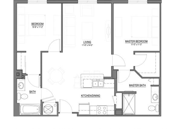 Floor Plan  B1-E 2 Bed - 2 Bath  984 sq ft floorplan