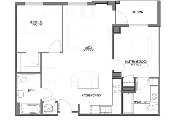 Floor Plan  B1 2 Bed - 2 Bath |995 sq ft floorplan