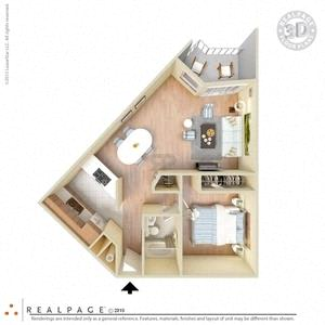 Floor Plan  1 Bed, 1 Bath, 650 square feet floor plan Jr. 3d furnished