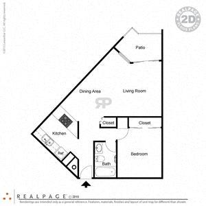 1 Bed, 1 Bath, 650 square feet floor plan Jr.
