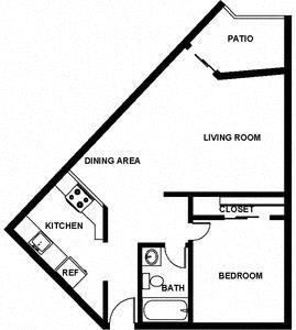 1 Bed, 1 Bath, 650 square feet floor plan Jr. 2