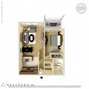 Floor Plan  1 Bed, 1 Bath, 670 square feet floor plan Regular 3d furnished