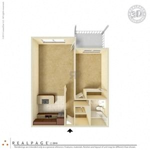 1 Bed, 1 Bath, 670 square feet floor plan Regular 3d