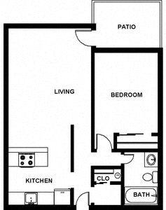 1 Bed, 1 Bath, 670 square feet floor plan Regular 2
