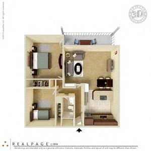 Floor Plan  2 Bed, 1 Bath, 906 square feet floor plan 3d furnished