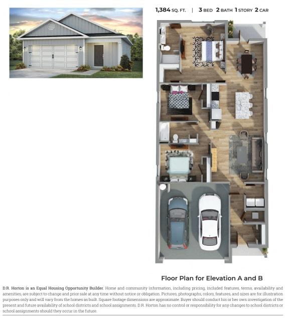Floor Plan  PLAN 1384 Floor Plan at Emerald Lakes South, Ocean Springs, Mississippi
