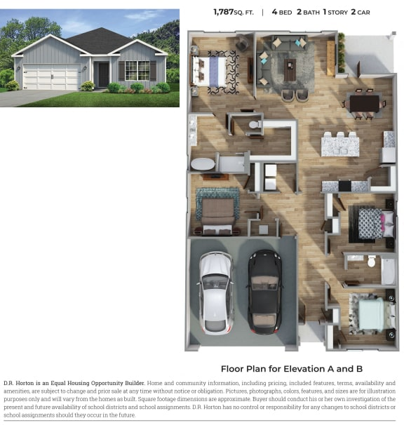Floor Plan  PLAN 1787, 4 Bed 2 Bath Floor Plan at Emerald Lakes South, Mississippi
