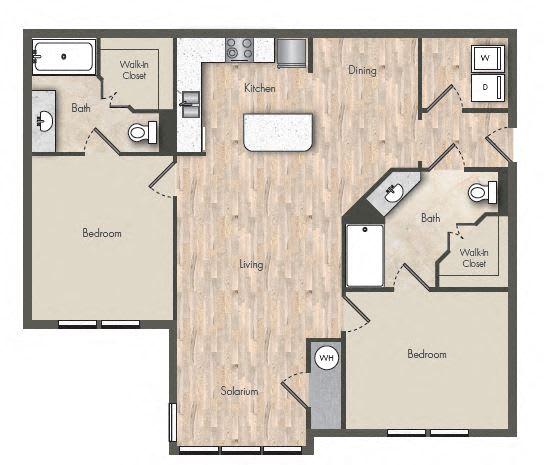 Floor Plan  2 Bed - 2 Bath  1075 sq ft floorplan